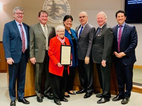 (pictured left to right: Supervisor Dave Pine, SamCERA CEO Scott Hood, Supervisor Carole Groom, San Mateo County Treasurer/SamCERA Board President Sandie Arnott, Supervisor Don Horsley, Supervisor Warren Slocum, and Supervisor David Canepa.)