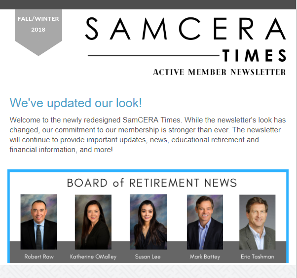 Newsletters - San Mateo County Employees' Retirement Association